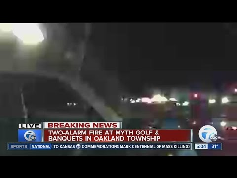 Firefighters battle fire at Myth Golf Course in Oakland Charter Township