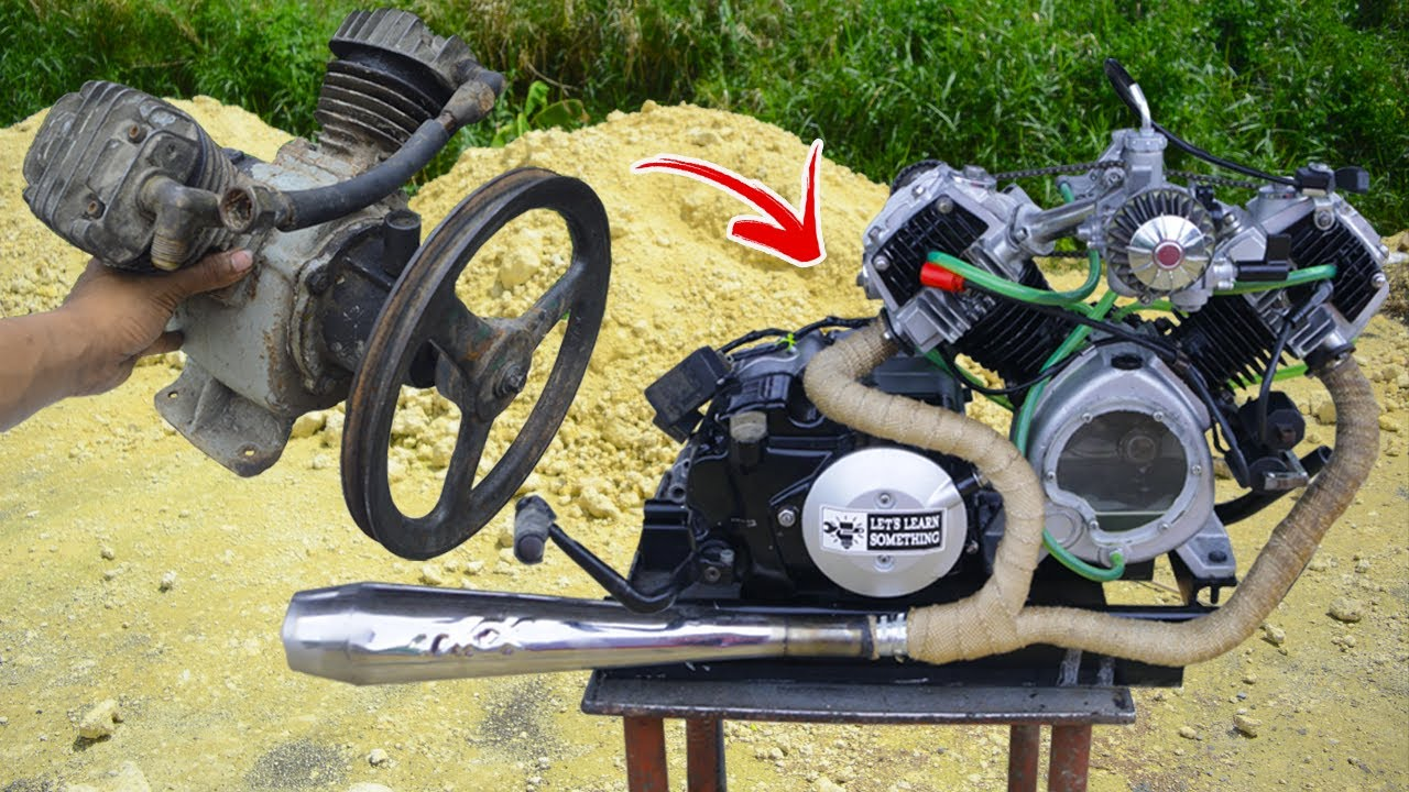 I turn V-twin Compressor into V-twin engine (Transmission)