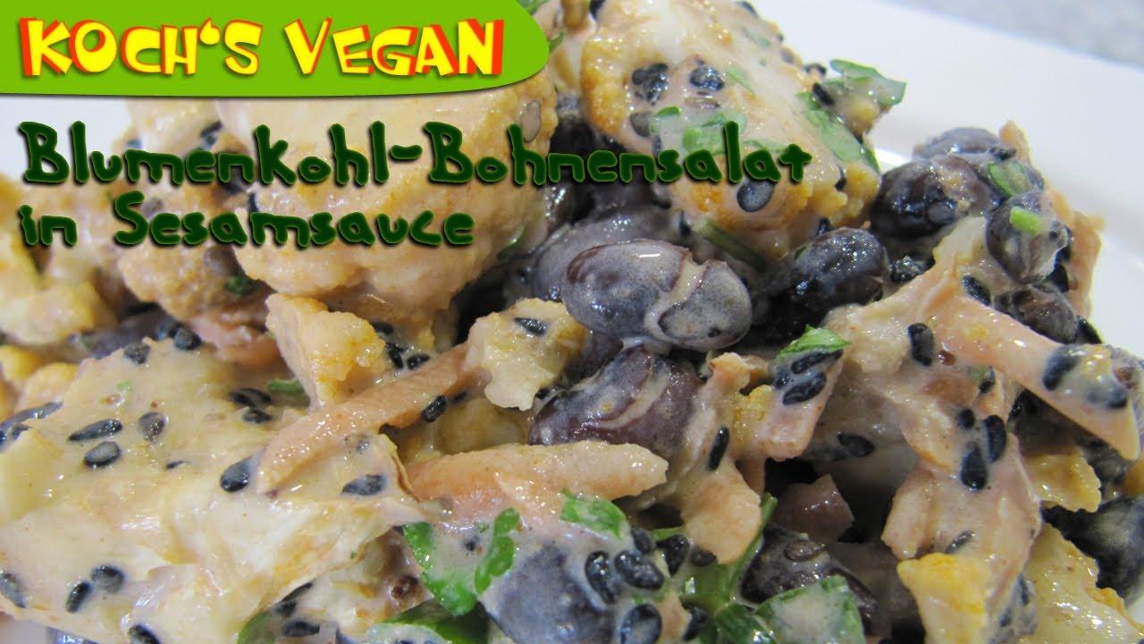 blumenkohl bohnensalat mit sesamsauce blumenkohl zubereiten vegane rezepte von koch 39 s vegan. Black Bedroom Furniture Sets. Home Design Ideas
