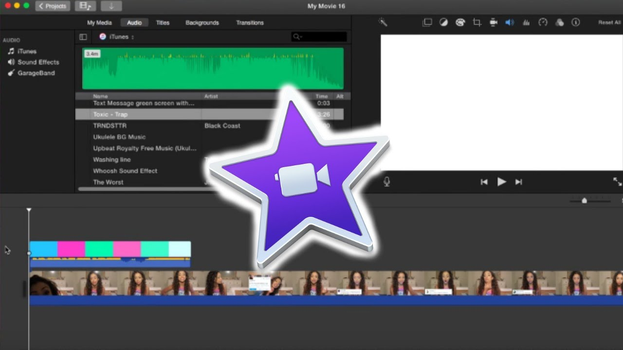 how to automatically add transitions in imovie