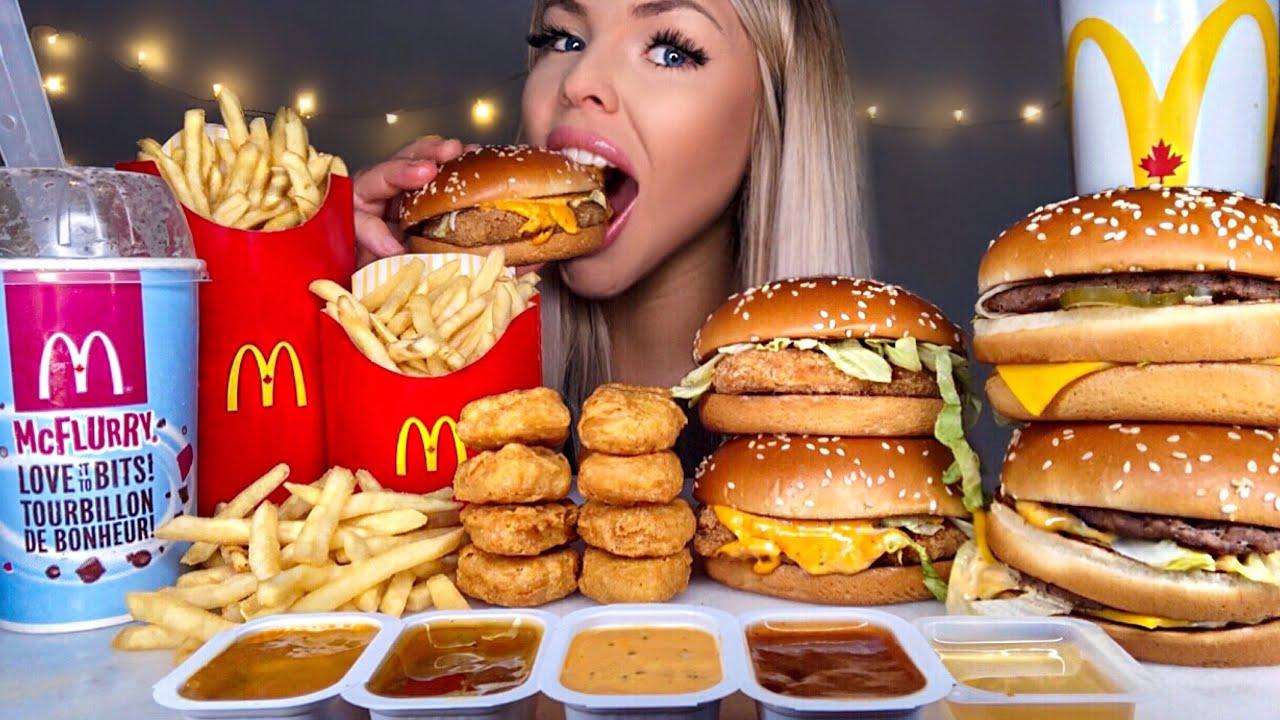 Download ASMR MOST POPULAR FOOD AT MCDONALDS BIG MAC, OREO MCFLURRY, NUGGETS, CHICKEN SANDWICH, FRIES MUKBANG