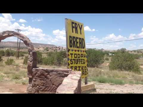 Eating Frybread on the Pueblo of Laguna Reservation in New Mexico Indian Fry bread