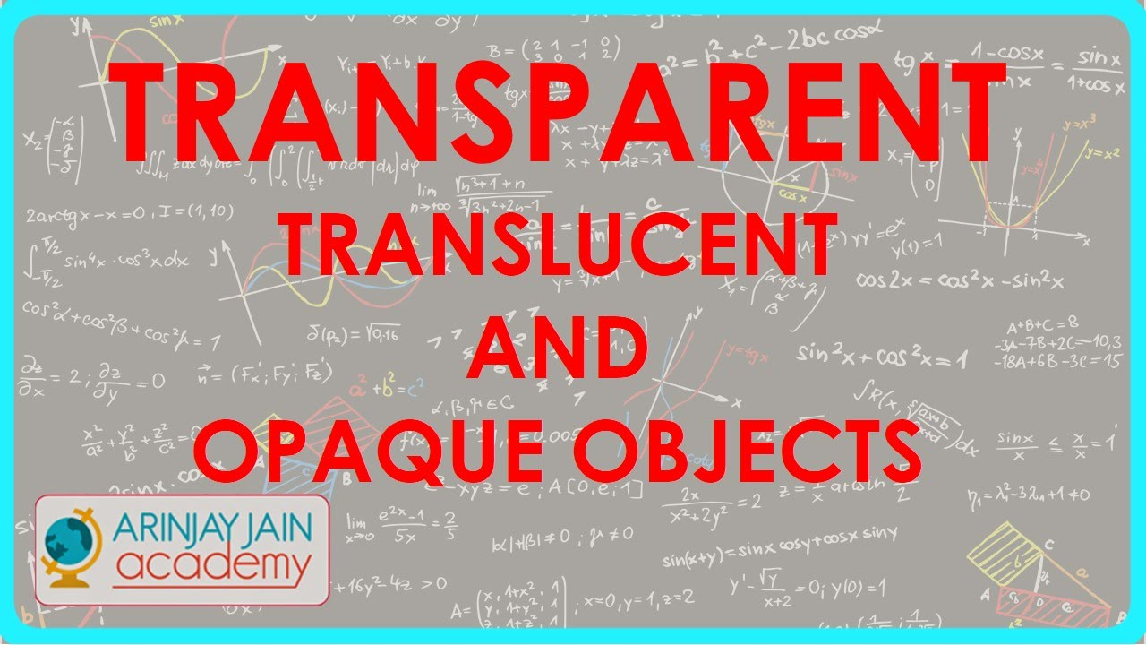 Transparent Translucent And Opaque Objects Light Physics