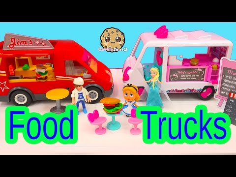 Surprise Blind Bags Eat Burgers At Fast Food Trucks With Playmobil + Queen Elsa