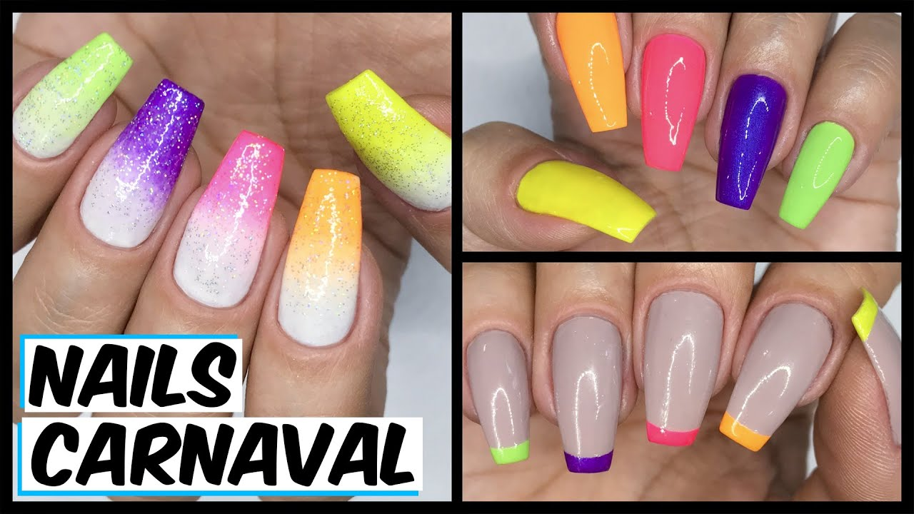 3 Decoracoes Faceis Para O Carnaval 2020 Nail Art Youtube