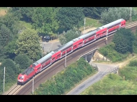 Trains in the Elbe valley near Königstein