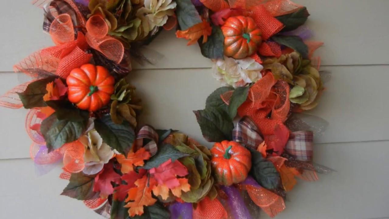 Diy Fall Thanksgiving Deco Mesh Pumpkin Harvest Wreath Youtube