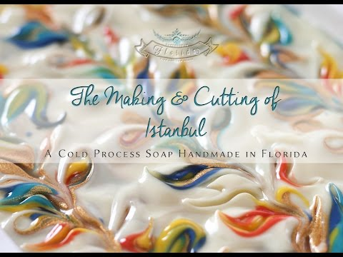 The Making and Cutting of Istanbul, a Cold Process Butterfly Swirl Soap