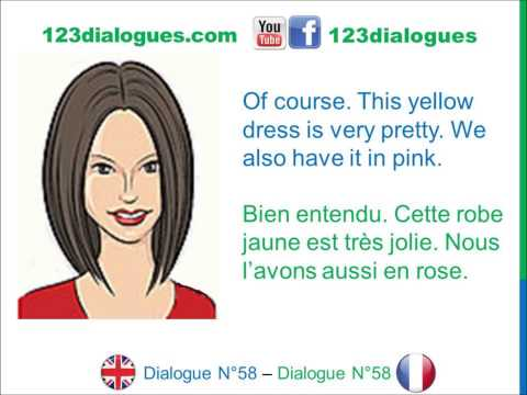 Dialogue 58 - English French Anglais Français - Shopping for clothes - Acheter des vêtements
