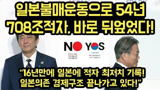"""일본불매운동으로 54년 708조적자, 바로 뒤엎었다! """"16년만에 최저치 기록!"""""""