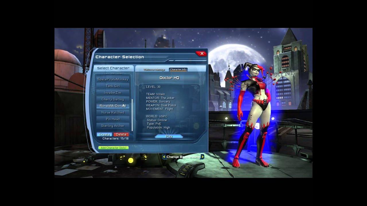 dc universe online character list dc universe online character list