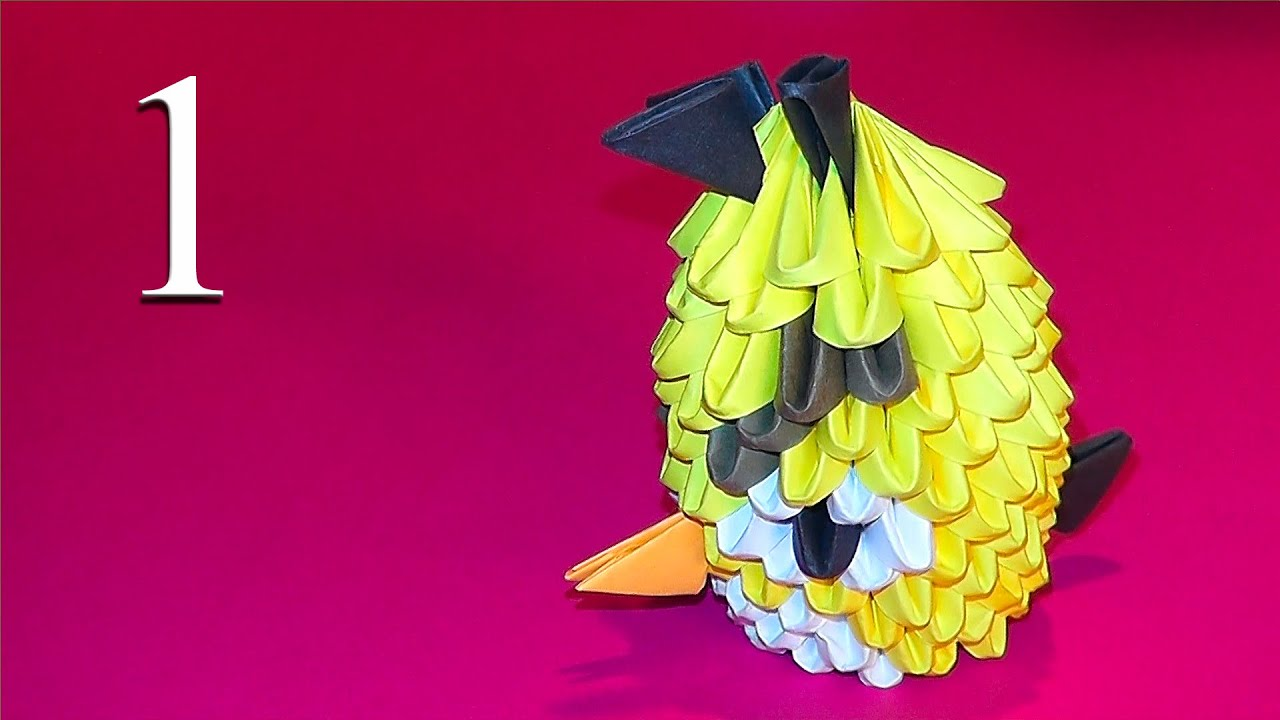 3D origami Yellow Angry Bird - YouTube - photo#4