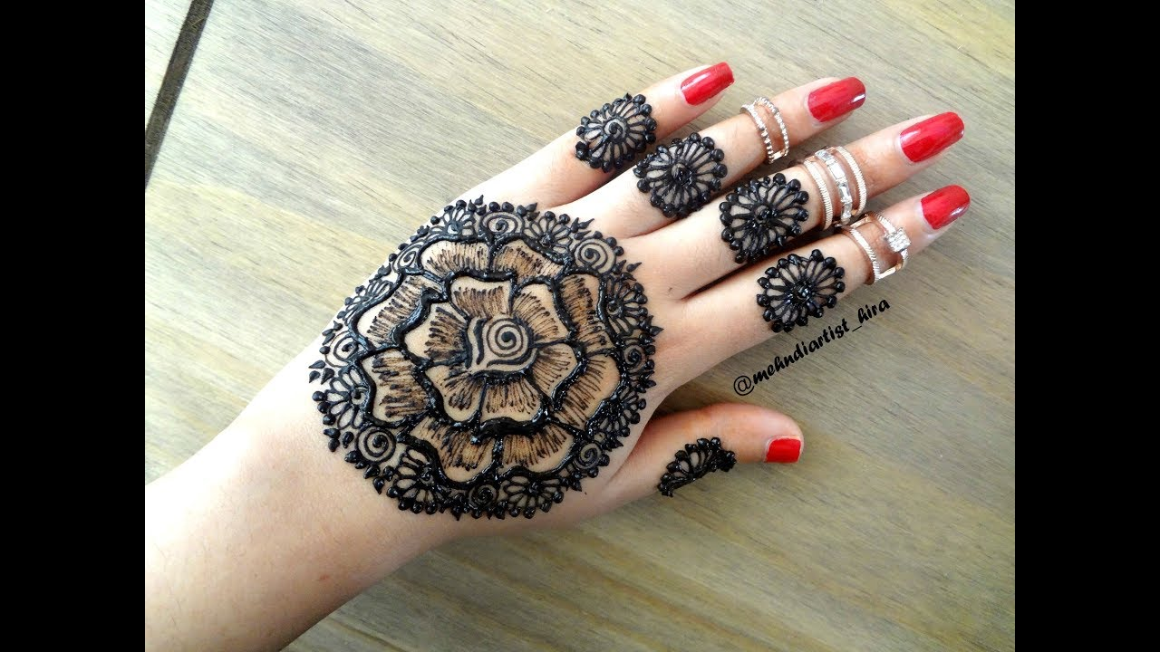 Beautiful Latest Simple Easy Rose Flower Mandala Henna Mehndi