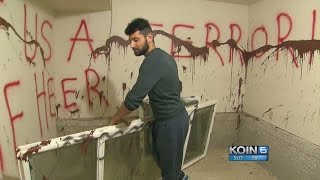 Hate graffiti sprayed in home of Iran refugee