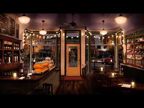 Cozy Fall Coffee Shop Ambience: Relaxing Jazz Music & Rain Sounds for Studying, Relaxation, & Sleep