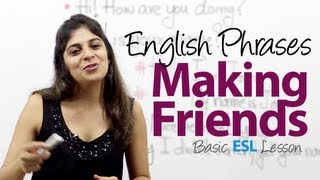Repeat youtube video Useful phrases for making friends -- Basic English Vocabulary / Phrases Lesson ( ESL)