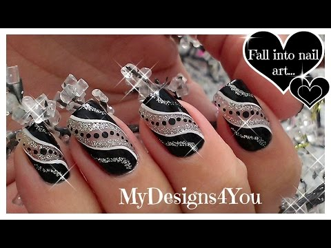 Easy Party Nail Art | Black And Silver Glitter Nails ♥ Diseño De Uñas Facil
