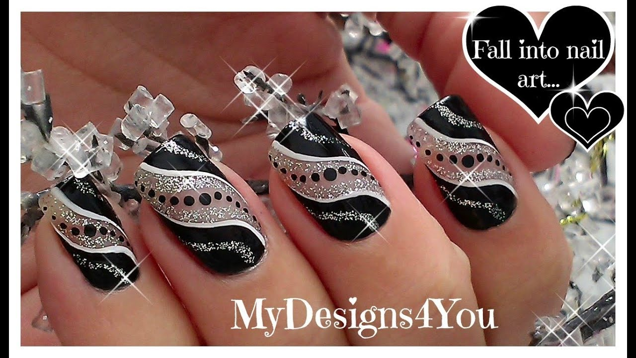 Easy Party Nail Art Black And Silver Glitter Nails Diseño De Uñas Facil