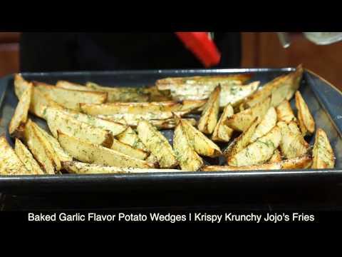 Baked Garlic Flavor Potato Wedges   Krispy Krunchy Jojo's Fries   Aloo Wedges Recipe