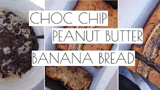 CHOC CHIP PEANUT BUTTER BANANA BREAD  VEGAN & DELICIOUS