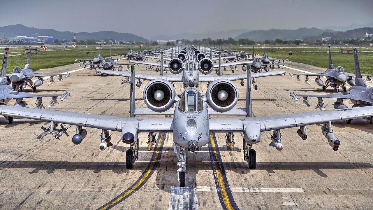 """a-10 and f-16 aircraft """"elephant walk"""" at osan air base, south korea"""