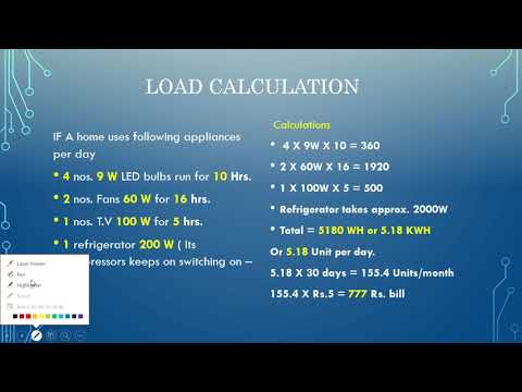 Load calculation of  electrical appliances and their wattage.