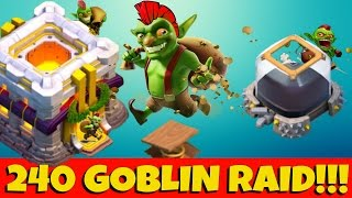 240 Goblin RAID vs Townhall 11 NO HEROES | How to FARM Dark Elixer | Clash of Clans