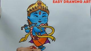 how to draw lord krishna poster || krishna janmashtami drawing