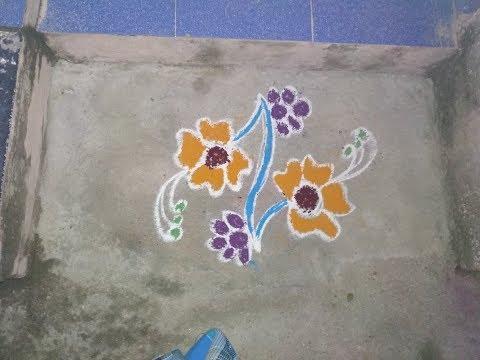 Rangoli Kolam Designs with Flowers - Rangoli Kolangal Design With Dots