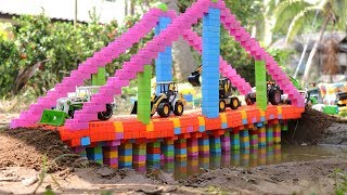 Building a bridge for kids | Building block toys for toddlers | Construction vehicles