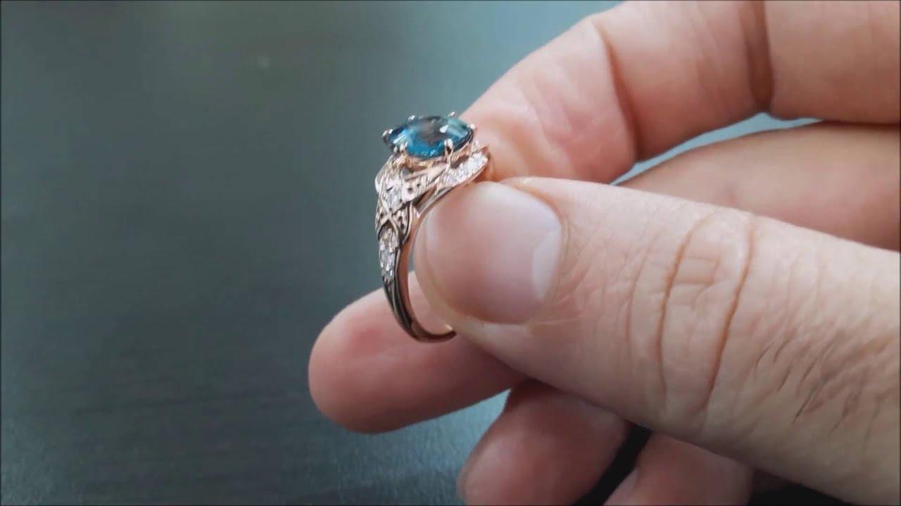 Relatively 14K Rose Gold London Blue Topaz Engagement Ring-8mm London Blue  OL89
