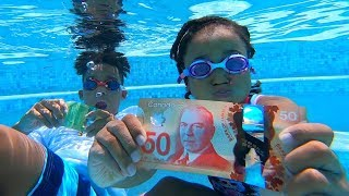 Diving For Real Money in the Swimming Pool!