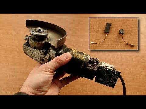 Reparatur defekter AEG Winkelschleifer, mit Kohlebürsten von einem Bosch-Gerät