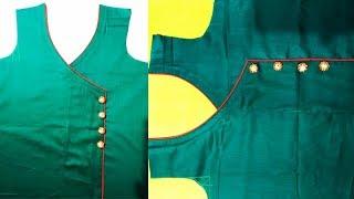 Very Beautiful Angrakha style front Kurti Neck Design Cutting and Stitching