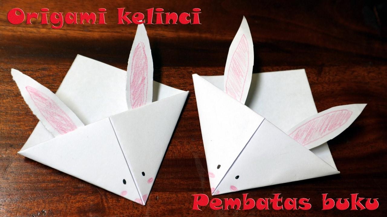 Origami pembatas buku lucu origami wajah kelinci