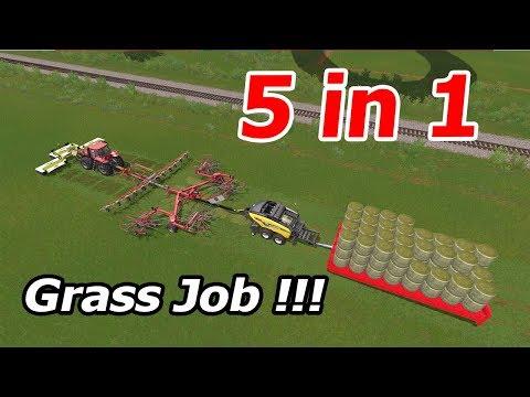 Farming Simulator 17: Grass Job !!! 5 in 1 - Fast and Fantastıc Farmer !!!🙂🙂