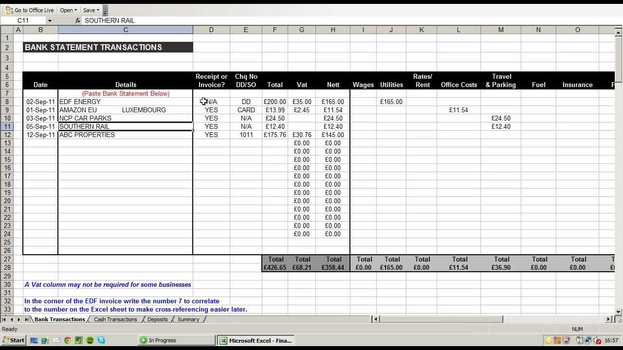 using an excel spreadsheet to record and break down business expenses youtube
