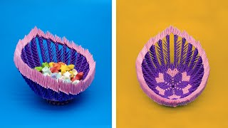 How to make a 3D origami Fruit Bowl