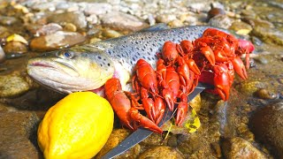Catch n' Cook BROWN TROUT and River CRAWFISH!