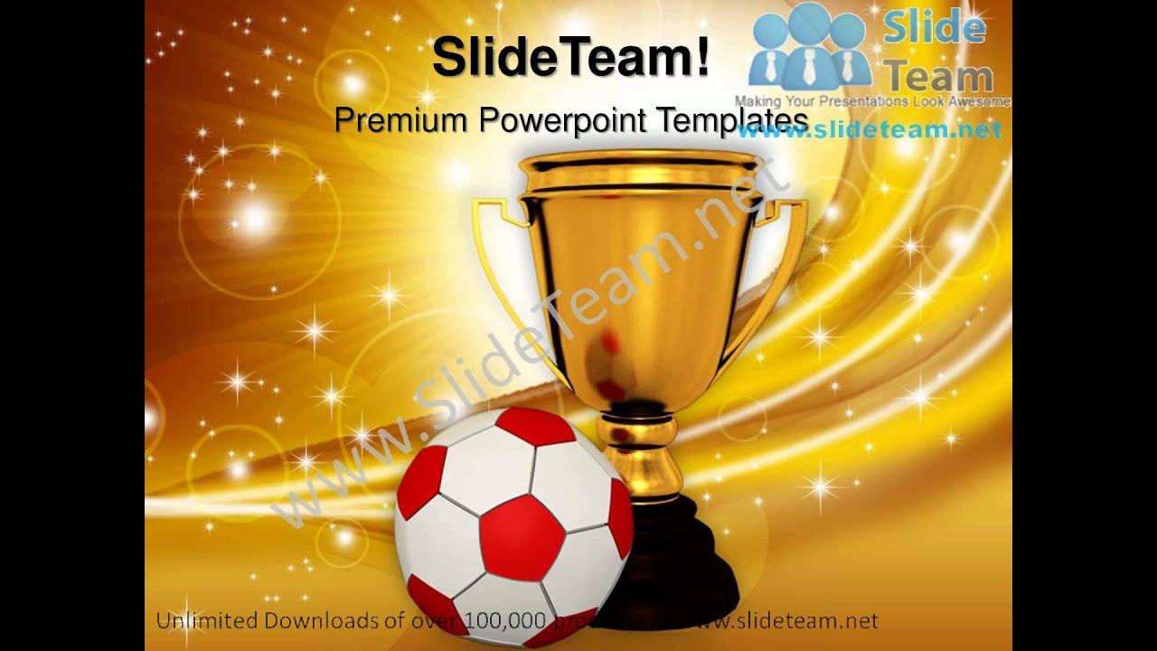Trophy With A Football Competition PowerPoint Templates Ppt Themes 1112 Slides Backgrounds