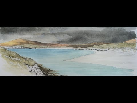 Watercolour Landscape Sketching Demonstration. How to sketch a seascape. Outer Hebrides, Scotland.