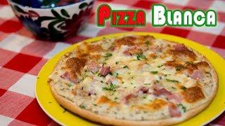 Pizza Blanca con Salsa Alfredo Pollo Jamon y Queso Cordon Bleu