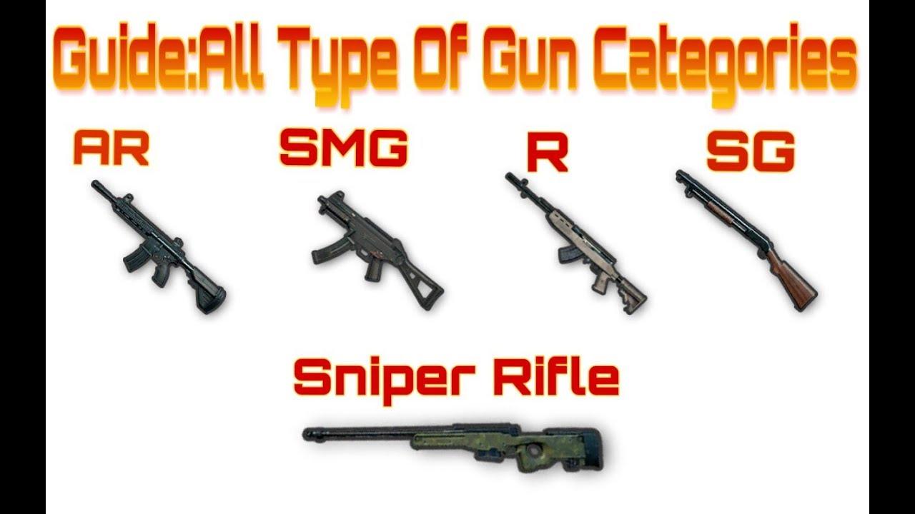 Guide All Categories Of Guns In Pubg Mobile Like Ar Smg Sr