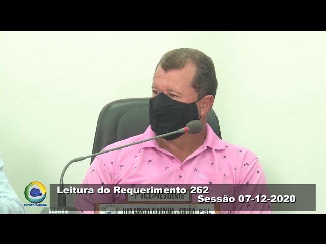 Vereador Luiz Sergio Claudino  PSL Leitura do Requerimento 262 Sessão 07 12 2020