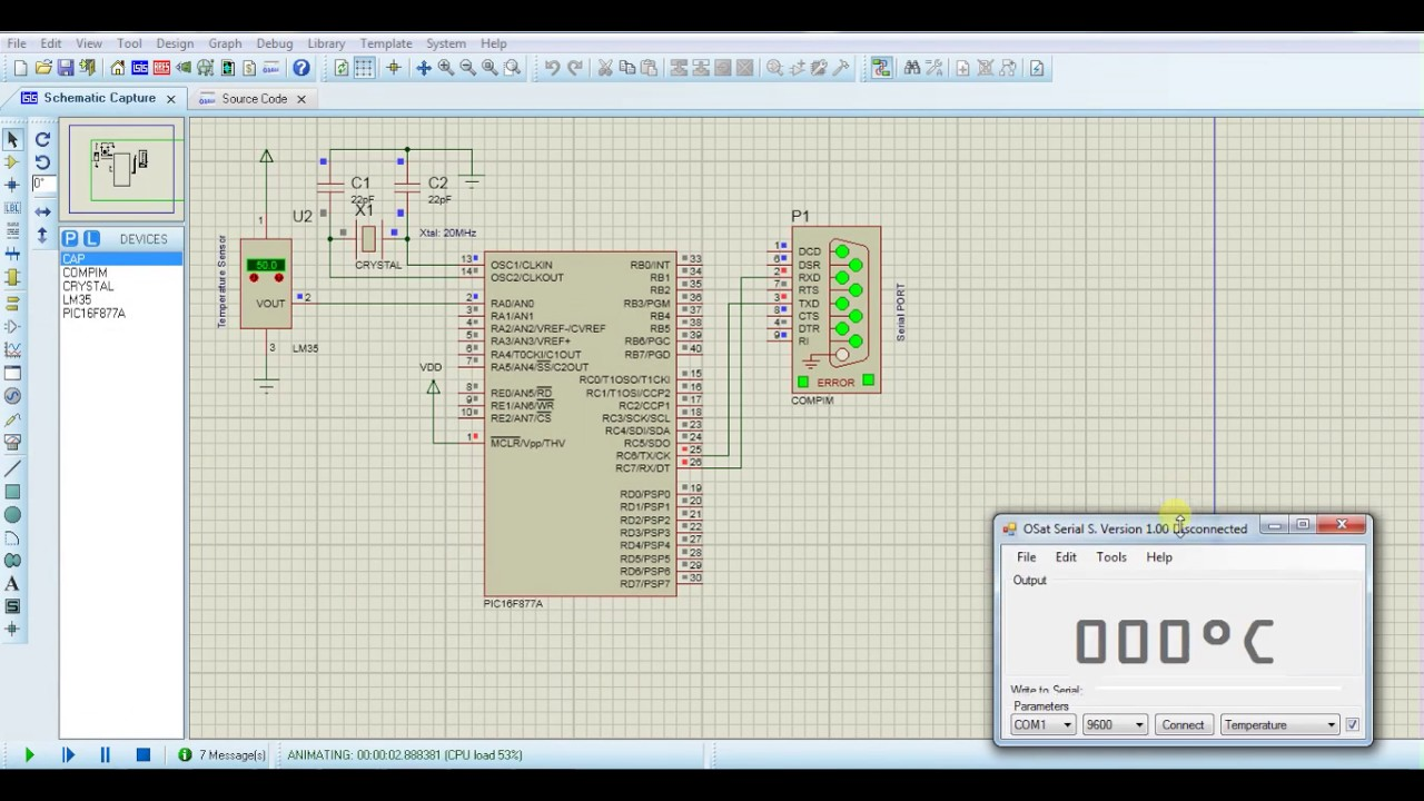 LM35 Interface with PIC16F877A MCU Display temperature via serial monitor  interface