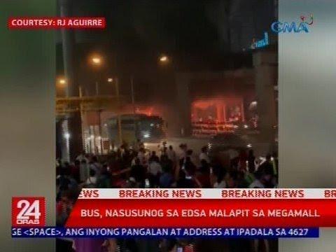 24 Oras: Bus, nasusunog sa EDSA malapit sa Megamall