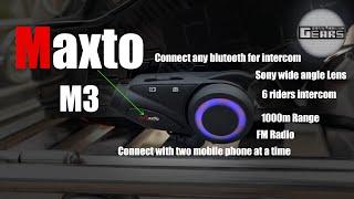 Maxto M3 Intercom Sony HD wide angle 1080p Aero dynamic 6 riders 1000m