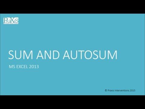 SUM AND AUTOSUM
