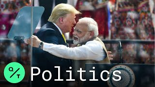 Trump Greets Indian Crowd In World's Biggest Cricket Stadium During State Visit