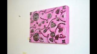 Mira lo que hice con una tapa de una caja de cartón. Cuadro abstracto. Artesanato. Diy. Crafts.